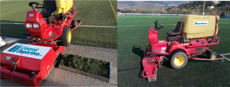 cepillado y limpieza de cesped artificial para futbol